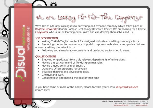 We Are Looking For FullTime Copywriter  Disual Digital Visuals